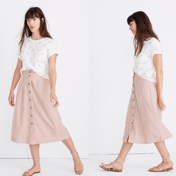 2a2180ac5 Madewell Skirts | Patio Buttonfront Midi Skirt Clay Stripe | Poshmark